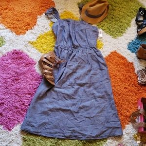 Waist-defined Chambray Dress with Ruffled Straps